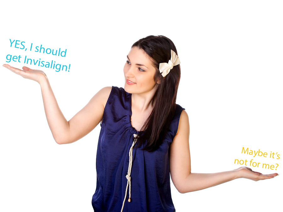 Picture of woman thinking if Invisalign is for her